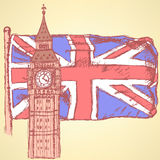 Bosqueje Big Ben en la teja con la bandera BRITÁNICA, fondo del vector Foto de archivo