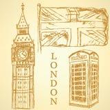Bosqueje Big Ben, la bandera BRITÁNICA y la cabina del teléfono, fondo del vector Imagen de archivo libre de regalías