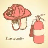 Bosqueje el casco y el extintor del fuego en estilo del vintage ilustración del vector