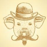 Bosqueje el cerdo en sombrero con el mustche, ackground del vector Foto de archivo libre de regalías