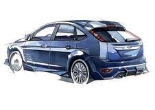 Bosqueje el coche urbano de la juventud en un estilo deportivo con un motor de alta velocidad potente stock de ilustración