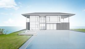 Bosqueje el diseño de casa y de piscina modernas de playa Fotos de archivo