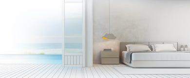 Bosqueje el diseño de dormitorio de la opinión del mar con la terraza en la casa de playa de lujo, interior moderno del chalet de Imagen de archivo