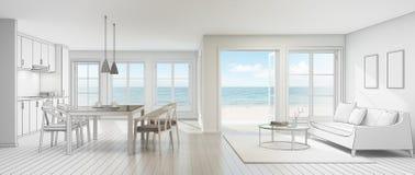 Bosqueje el diseño de interior de la opinión del mar en casa de playa moderna Fotos de archivo