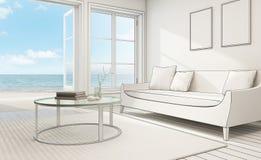 Bosqueje el diseño de interior de la opinión del mar en casa de playa moderna Foto de archivo libre de regalías