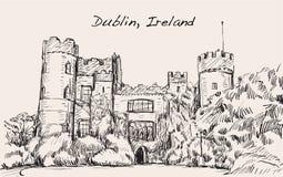 Bosqueje el paisaje de la ciudad de Dublín, Irlanda, castillo de Malahide, libre Imágenes de archivo libres de regalías