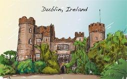 Bosqueje el paisaje de la ciudad de Dublín, Irlanda, castillo de Malahide, libre Imagen de archivo libre de regalías