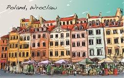 Bosqueje el paisaje urbano ciudad de Polonia, Wroclaw, illustr del drenaje de la carta blanca Imagen de archivo
