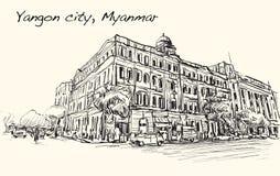 Bosqueje el paisaje urbano de la ciudad de Rangún, opinión de perspectiva de la demostración de Myanmar Foto de archivo
