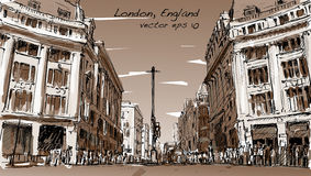 Bosqueje el paisaje urbano de Londres, Inglaterra, calle del paseo de la gente de la demostración Fotos de archivo libres de regalías