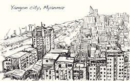 Bosqueje el paisaje urbano de Rangún, horizonte de Myanmar, edificio de la demostración Fotos de archivo