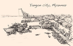 Bosqueje el paisaje urbano de Rangún, horizonte de Myanmar, muelles de la demostración Imagenes de archivo
