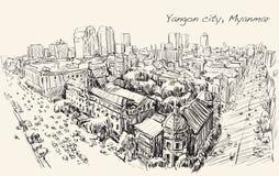 Bosqueje el paisaje urbano de Rangún, Myanmar en el camino del filamento del topview Imágenes de archivo libres de regalías