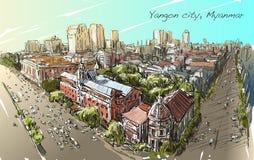 Bosqueje el paisaje urbano de Rangún, Myanmar en el camino del filamento del topview Foto de archivo libre de regalías