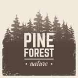 Bosqueje el pino de la naturaleza del vintage y el bosque del árbol de abeto en cartel retro de la niebla de la historieta del ve ilustración del vector