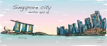 Bosqueje el scape de la ciudad del horizonte de Singapur con la bahía del puerto deportivo ilustración del vector