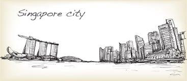 Bosqueje el scape de la ciudad del horizonte de Singapur con la bahía del puerto deportivo y constrúyalo stock de ilustración
