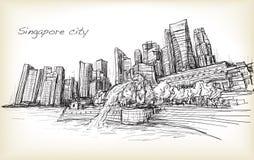 Bosqueje el scape de la ciudad del horizonte de Singapur con la fuente de Merlion libre illustration