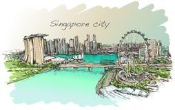 Bosqueje el scape de la ciudad, del horizonte de Singapur, drenaje de la carta blanca Imagen de archivo libre de regalías