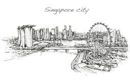 Bosqueje el scape de la ciudad, del horizonte de Singapur, drenaje de la carta blanca Fotos de archivo libres de regalías