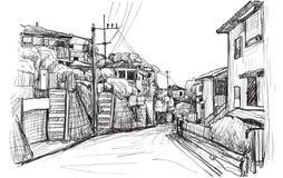 Bosqueje el scape de la ciudad del pueblo local en Yokohama Japón, carta blanca Foto de archivo