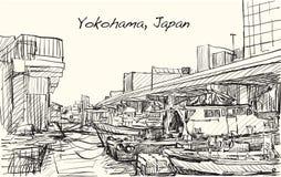 Bosqueje el scape de la ciudad illustr del drenaje de la carta blanca del puerto de Japón, Yokohama Foto de archivo