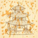 Bosqueje el templo chino, fondo EPS 10 del vector Imágenes de archivo libres de regalías