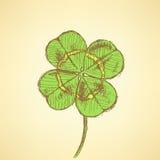 Bosqueje el trébol, fondo del vector, día de St Patrick Fotos de archivo libres de regalías