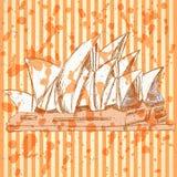 Bosqueje la ópera de Sydney, fondo EPS 10 del vector Fotografía de archivo libre de regalías
