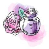 Bosqueje la botella del esquema de perfume femenino con la flor y los puntos coloridos Ilustración drenada mano del vector