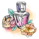 Bosqueje la botella del esquema de perfume femenino con las flores, las hojas y los puntos coloridos Ilustración drenada mano del