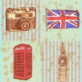 Bosqueje la cámara de la foto, la cabina del teléfono, la bandera BRITÁNICA y Big Ben, b Imagen de archivo libre de regalías