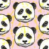 Bosqueje la cabeza de la panda, modelo inconsútil del vector Imágenes de archivo libres de regalías