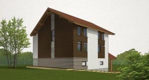 Bosqueje la casa del ladrillo y de la madera stock de ilustración