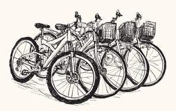 Bosqueje la fila de la bicicleta para la venta o alquile, drenaje de la carta blanca Imágenes de archivo libres de regalías