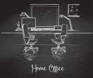 Bosqueje la mano del sitio dibujada en tiza en una pizarra Dos sillas de la oficina, escritorio, diversos objetos en la tabla Esp ilustración del vector