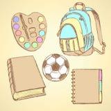 Bosqueje la mochila, las acuarelas, la bola del fútbol, el libro y el cuaderno libre illustration