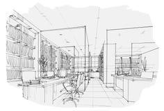 Bosqueje la oficina interior de la perspectiva, diseño interior blanco y negro libre illustration
