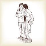 Bosqueje la situación de los pares y hablar, illust del vector del drenaje de la carta blanca Fotos de archivo