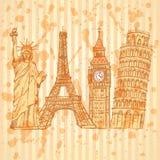 Bosqueje la torre de Eifel, la torre de Pisa, Big Ben y la estatua de la libertad, v Fotos de archivo libres de regalías