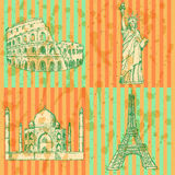 Bosqueje la torre Eiffel, el coliseo, Taj Mahal y la estatua de la libertad, v Imagenes de archivo