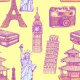 Bosqueje la torre Eiffel, torre de Pisa, Big Ben, suitecase, photocamera Foto de archivo