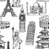 Bosqueje la torre Eiffel, torre de Pisa, Big Ben, Taj Mahal, coliseo, C Imágenes de archivo libres de regalías