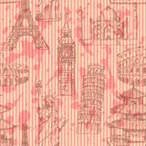 Bosqueje la torre Eiffel, torre de Pisa, Big Ben, Taj Mahal, coliseo, C Fotografía de archivo