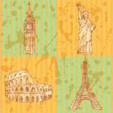 Bosqueje la torre, el coliseo, Big Ben y la estatua de Eifel de la libertad, vec Fotografía de archivo