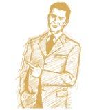 Bosqueje las demostraciones del hombre de negocios algo con el dedo Imágenes de archivo libres de regalías