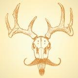 Bosqueje los ciervos con el bigote, fondo del vintage del vector Imágenes de archivo libres de regalías