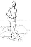 bosqueje los costes de un muchacho de los jóvenes en tierra ilustración del vector
