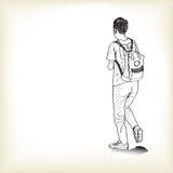 Bosqueje a un muchacho que camina con la mochila al schoo Imágenes de archivo libres de regalías
