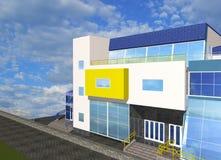 bosquejo 3D con la parte de edificio moderno Fotos de archivo